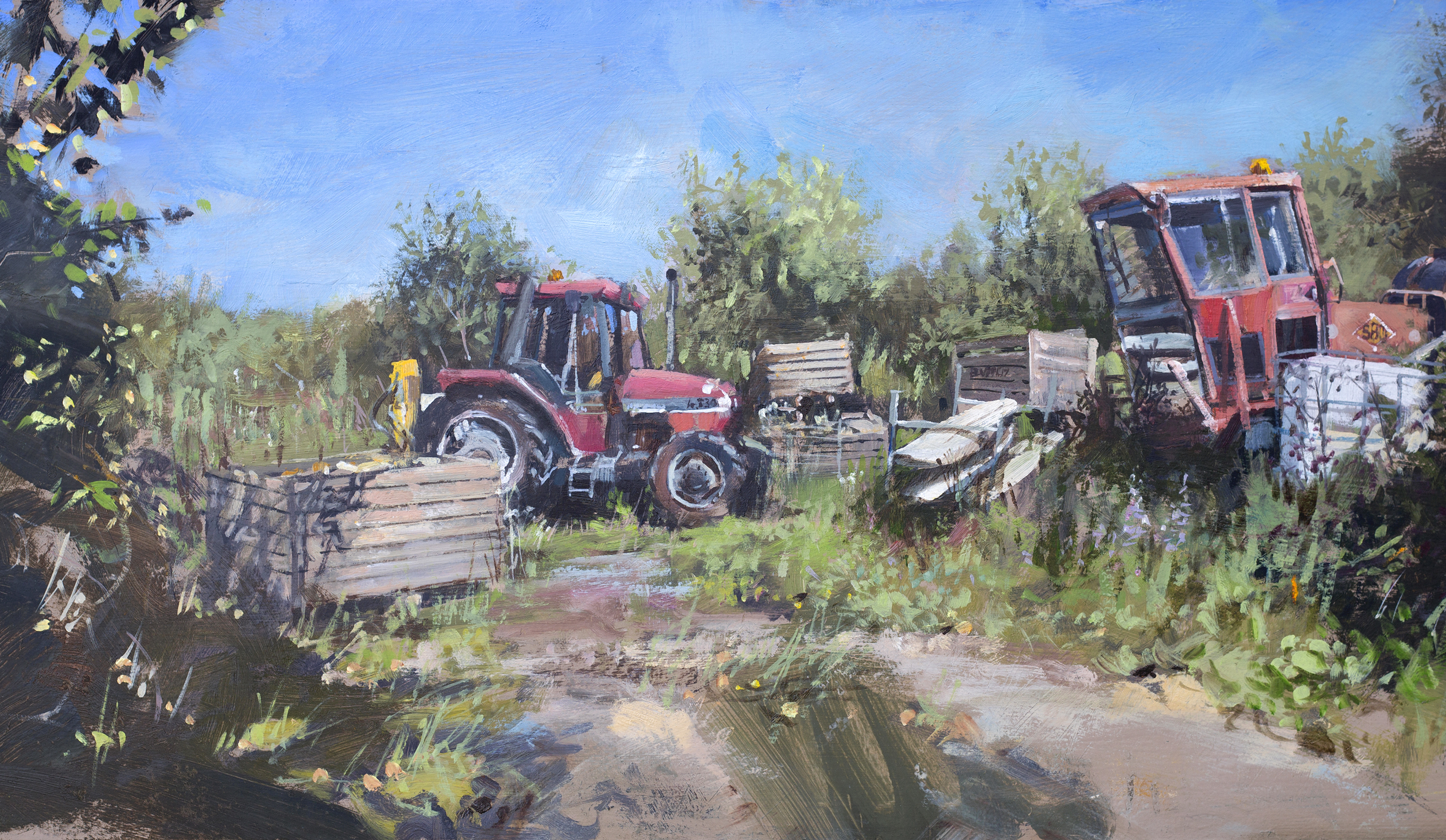 Tractors And Scrap, Morston, Norfolk Paintings by Nick Grove Artist