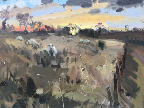 Dawn In Rutland, January 2019, 10x8in, Oil On Board