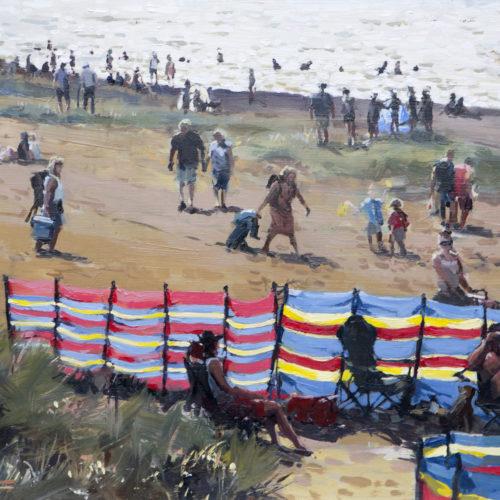 Beach Scene, Old Hunstanton, Oil On Board, 20in X 16in