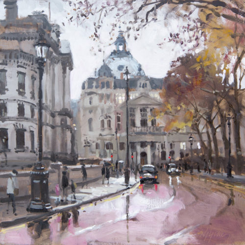Horse Guards In Autumn Plein Air Painting by Nick Grove
