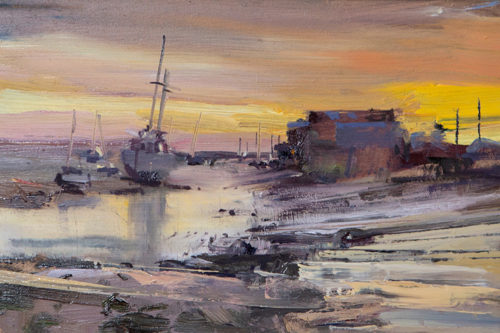 Sunrise In Wells Next The Sea Norfolk Painting by Nick Grove Norfolk Artist