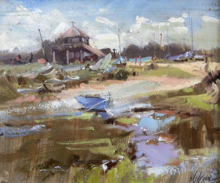 High Key Day, Morston Quay, Norfolk Paintings by Norfolk Artist Nick Grove