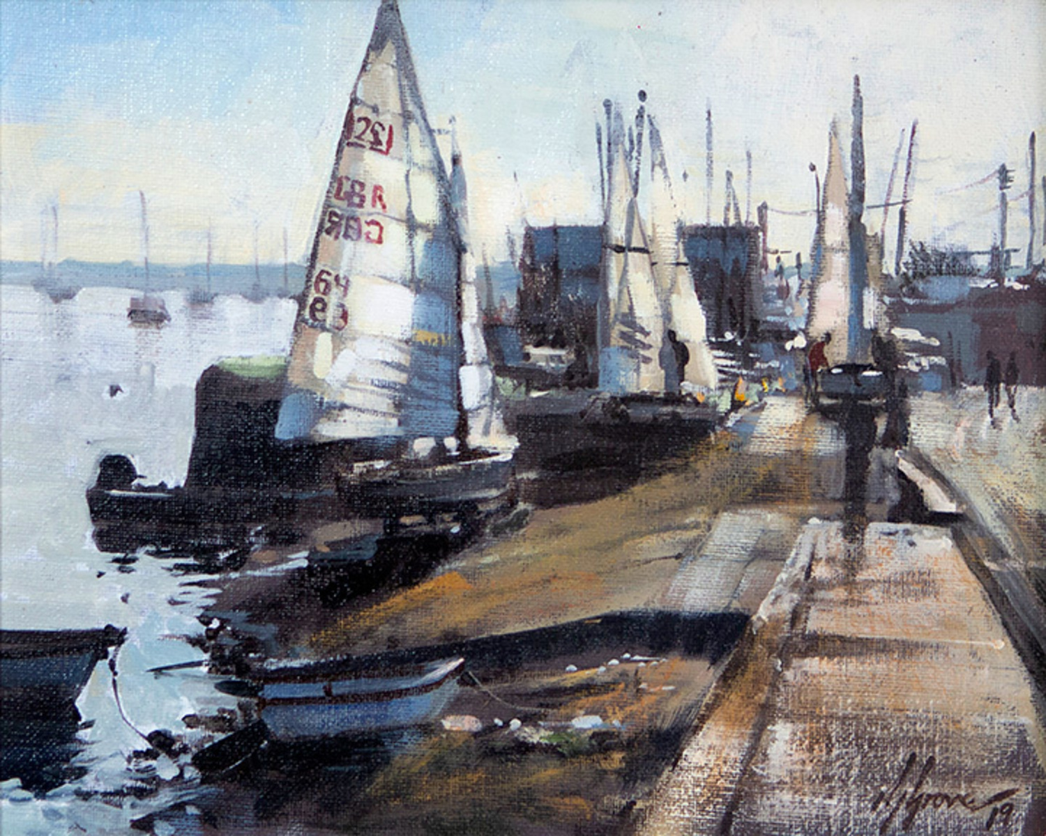 Preparing the Dinghies, Wells-next-the-Sea, Norfolk Paintings by Nick Grove Artist