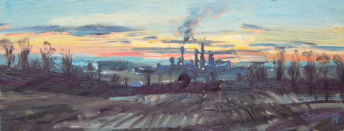 Sunset, the Cement works, Ketton