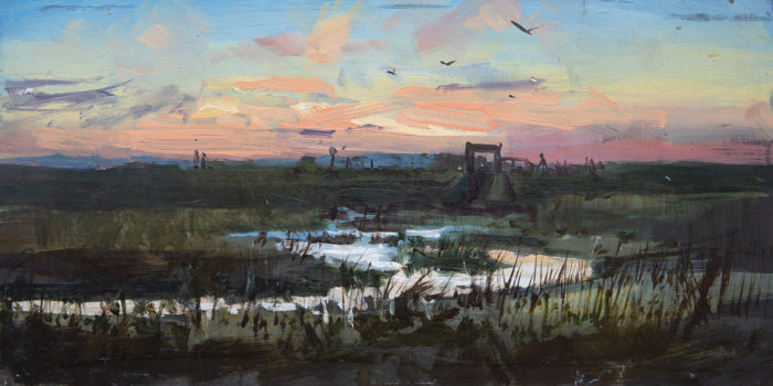 Sunset at the Sluice gate, Thornham