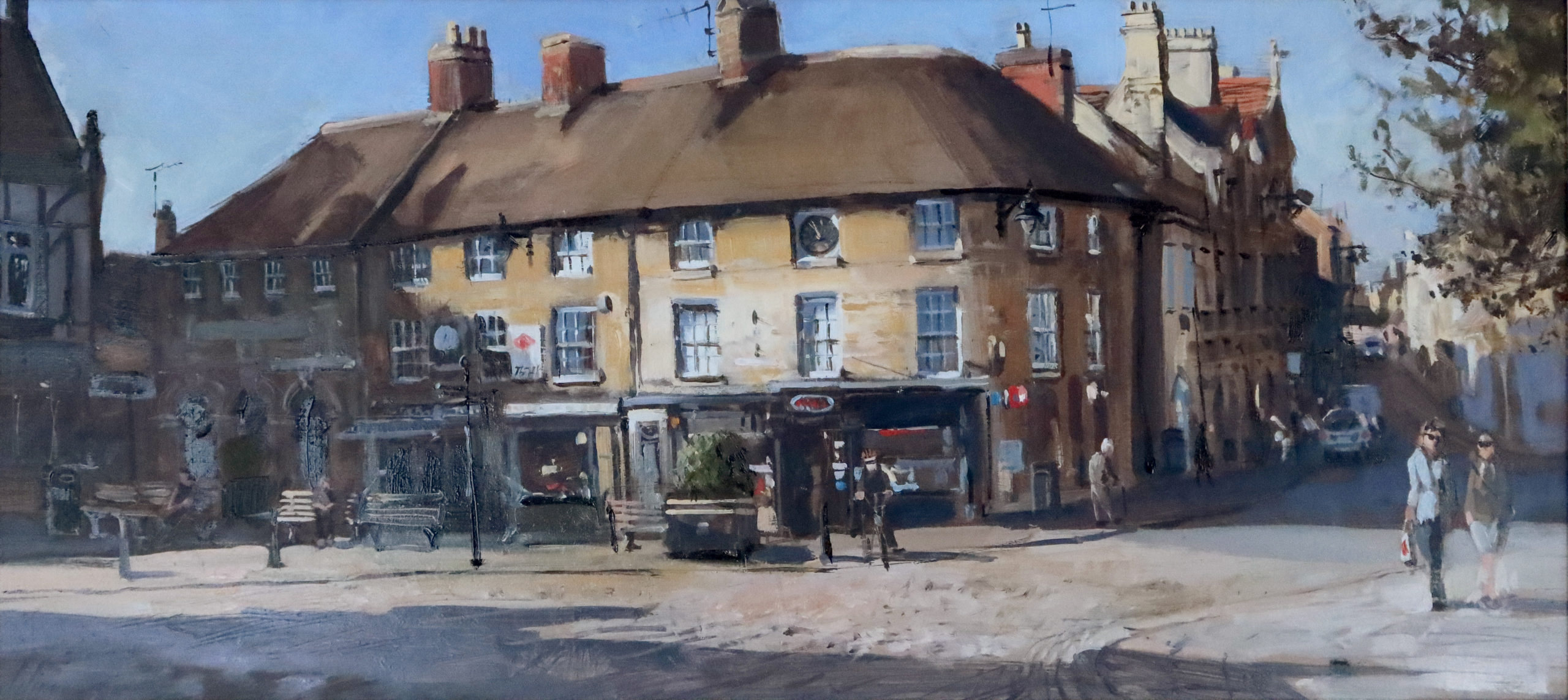 'Red Lion Square', 12x24in, oil on board, painted in the summer of 2020 on location by Stamford painter Nick Grove.