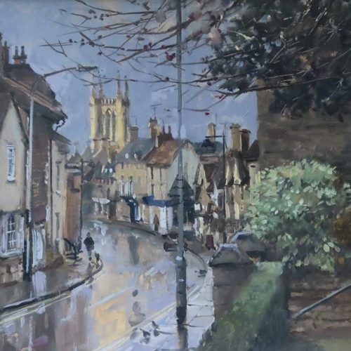 'First Light St Paul's St, Stamford', 12x16in, oil on board, painted in 2021.