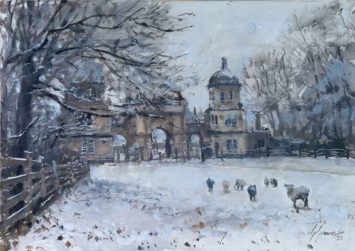 Snow and Sheep at the Gate House, Burghley Park