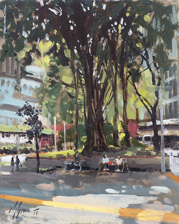 under the banyan tree painting