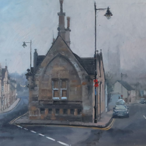 Foggy start, St Peter's Hill, Stamford. 12x16in oil on board. Oil paintings of Stamford, Cambridge, and London by Nick Grove Artist.