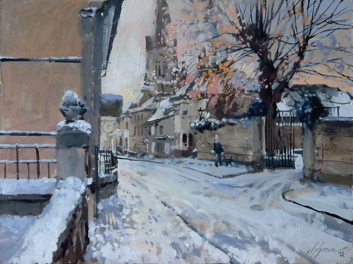 Sunrays and Snow, Barn Hill, Stamford. 12x16in oil on board. Painted en plein air by Stamford Artist Nick Grove.