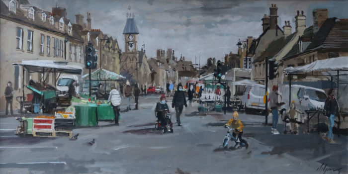 Market Day Stamford Painting by Nick Grove Artists. Stamford scenes and landscapes by local artist Nick Grove.