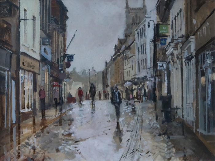 Shopping in the rain, High St, Stamford