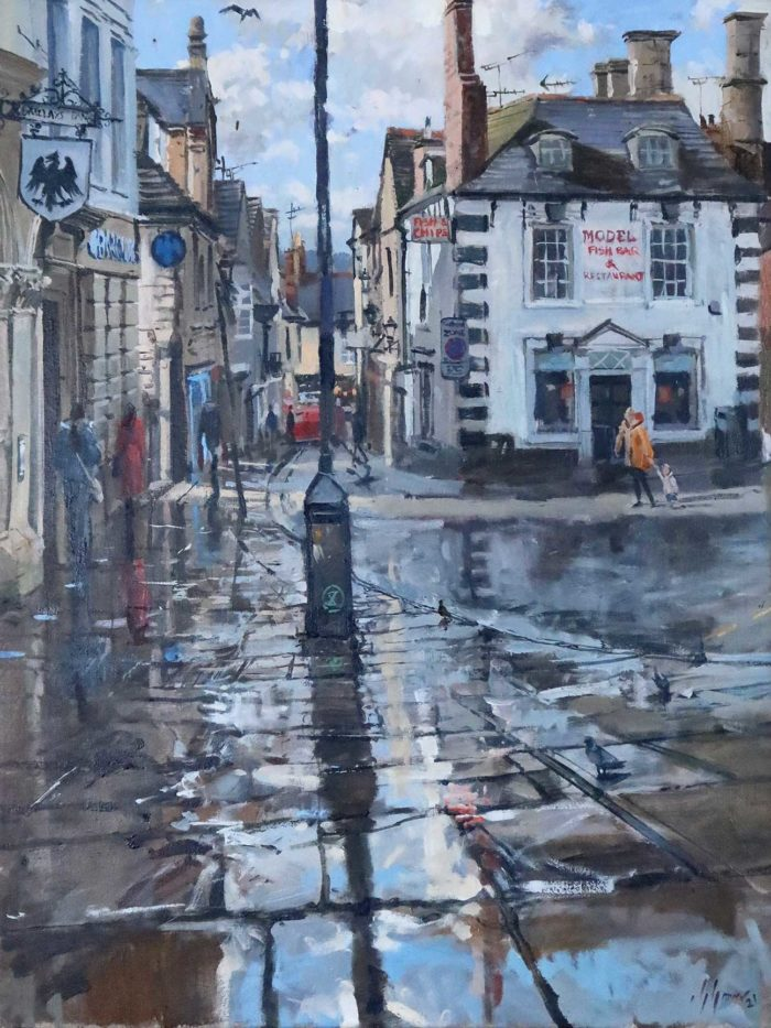 Sunshine after the rain, Red Lion St, Stamford, oil on canvas, 18x24in. A large plein-air painting by Stamford Artist Nick Grove