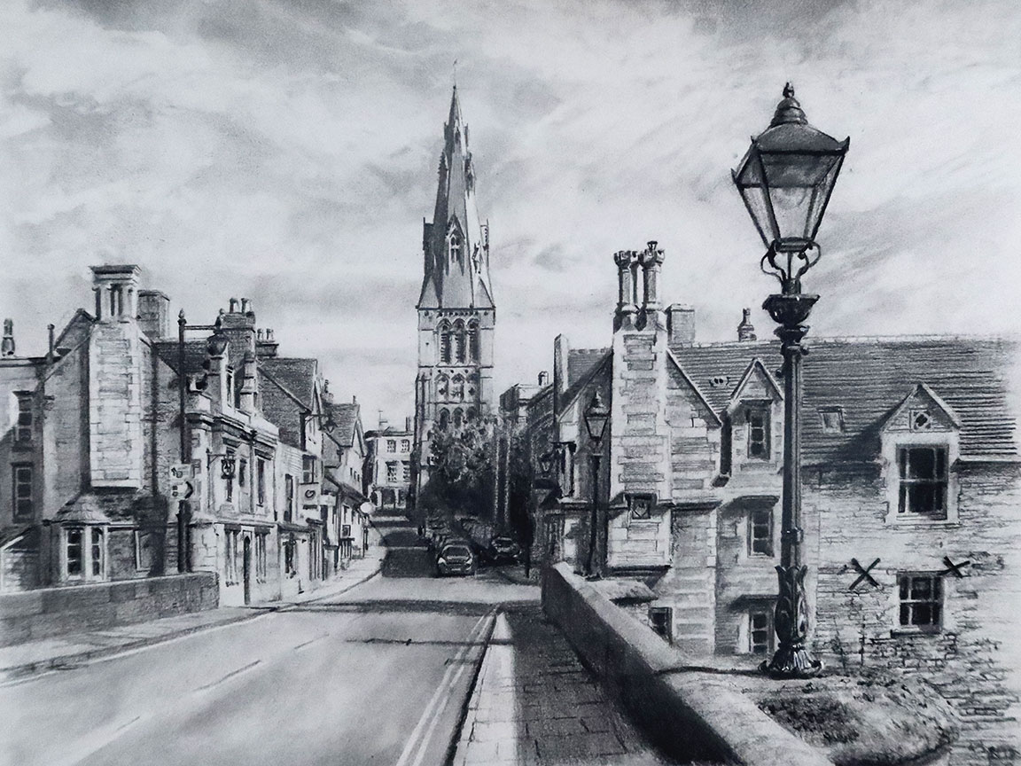 Stamford Town Bridge North. Limited edition print of this Charcoal drawing by Nick Grove Artist. 1 of 100 signed by the Artist Nick Grove.