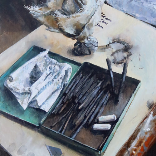 'Things on Stool, 2', 12x16in, oil on board, painted in 2021. A still life painting from the studio by Nick Grove Artist.