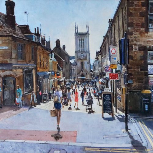 Mid-Day heat, Ironmonger Street, Stamford (14x20) Limited edition Giclee print. 1 of 100, signed by the artist.