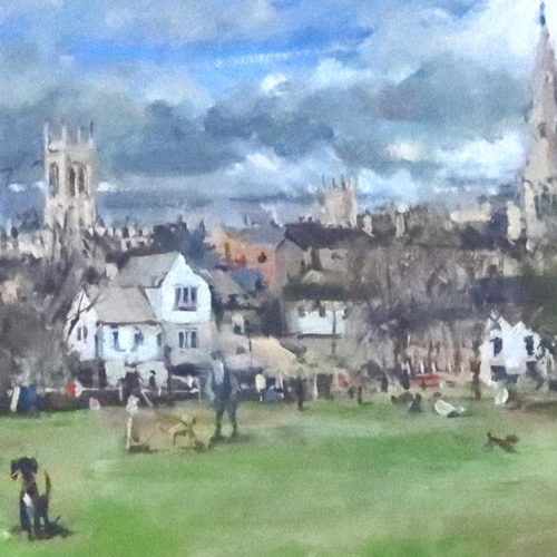 One sunny afternoon on The Meadows large painting by Stamford Artist Nick Grove