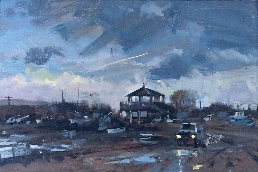'Rainstorm, Morston Quay', 8x12, oil on board, painted in 2021.