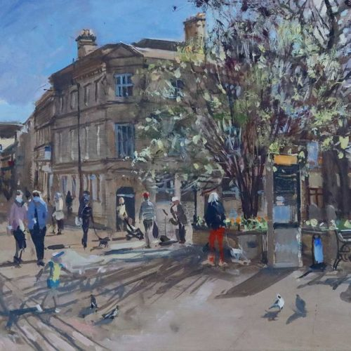'Spring Sunshine, High St, Stamford', 12x16in, oil on board, painted in 2021. Studio and plein-air paintings by Stamford Artist Nick Grove.