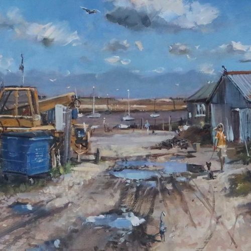 'The Proposal, Brancaster Overy Staithe', 12x24in, oil on board, painted in the summer of 2021.