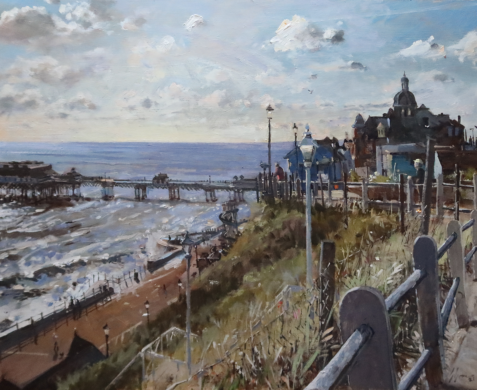 'Bright start to the day, Cromer, June', 18x24in, oil on board. Painted en plein air by Nick Grove Norfolk Artist.