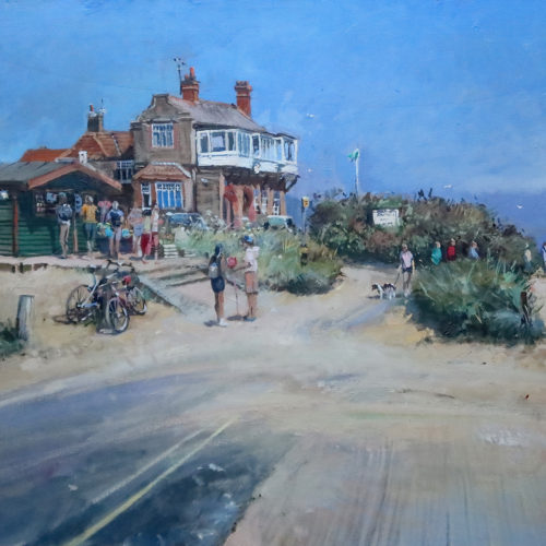 Heading to the Beach, Brancaster plein air painting by Nick Grove Artist
