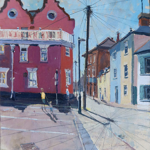 'Crabbe Street, Aldeburgh', 10x12in, oil on board. Hottest day of the year 2021.