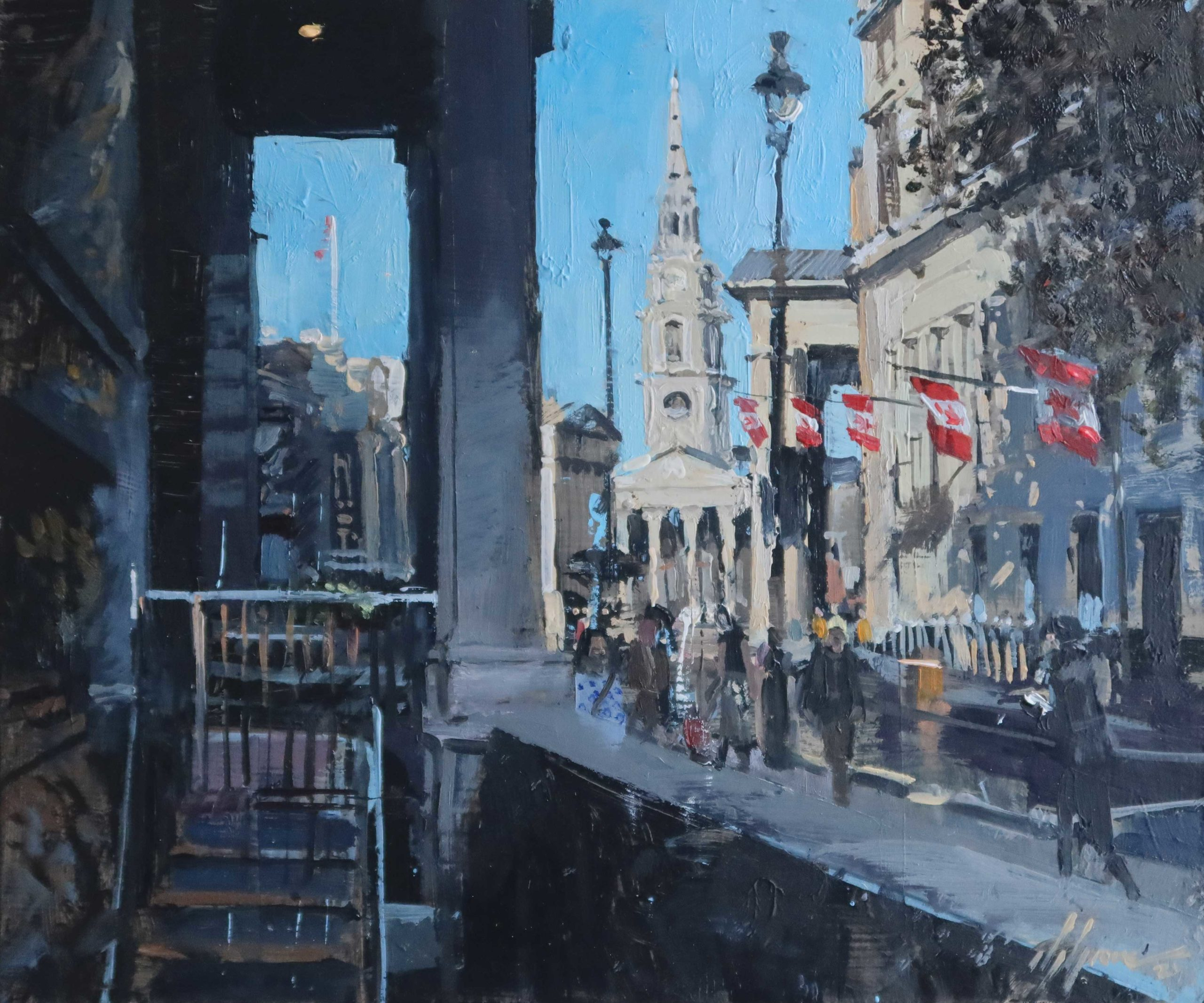 'Outside Kinnaird House, Pall Mall East' 10x12in, oil on board.