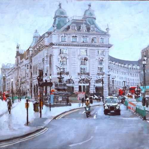 Piccadilly-in-Lockdown-2020 Plein Air Oil Painting by Nick Grove Artisy