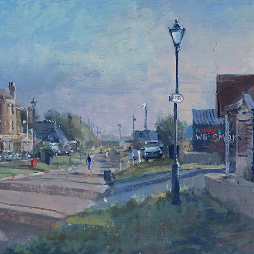 'Quiet Morning on the Crag, Aldeburgh', 8x16in, oil on board, painted in 2021 on location in Aldeburgh by Artist Nick Grove.