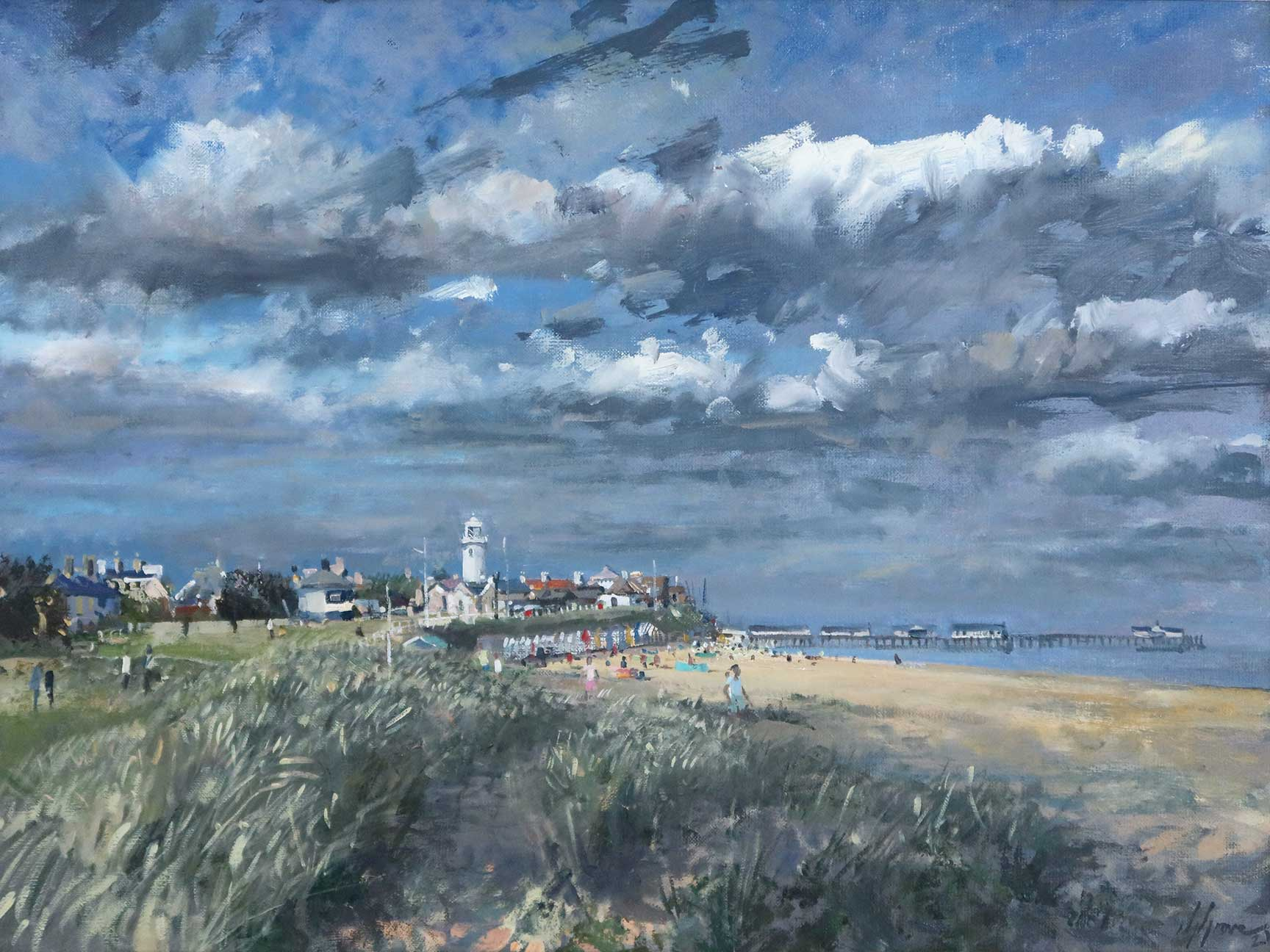Southwold from the dunes Painting on canvas by Nick Grove