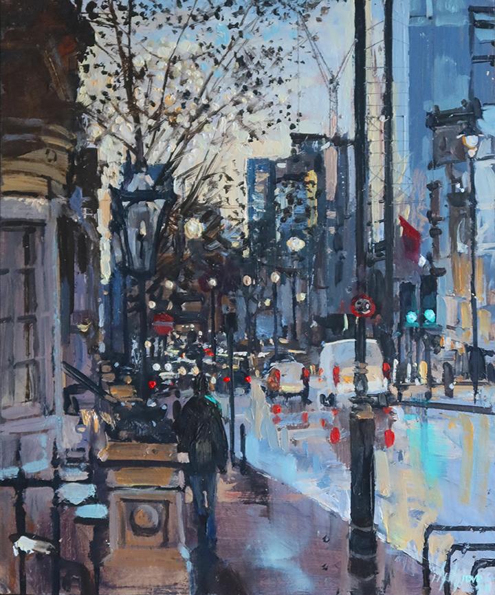 street lights london painting by Nick Grove Artist