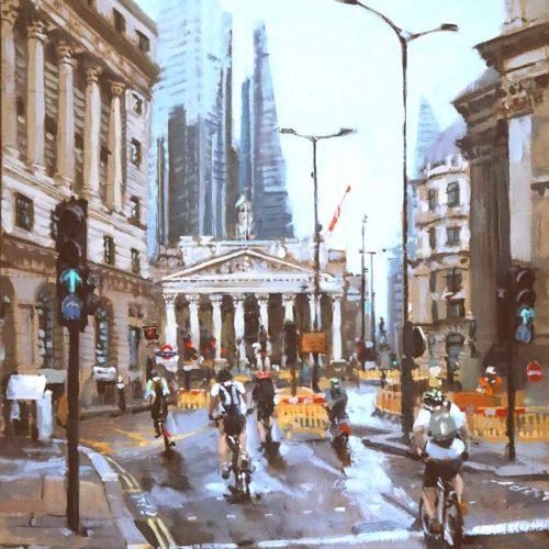 Sunday Morning Bank Painting by British Artist Nick Grove