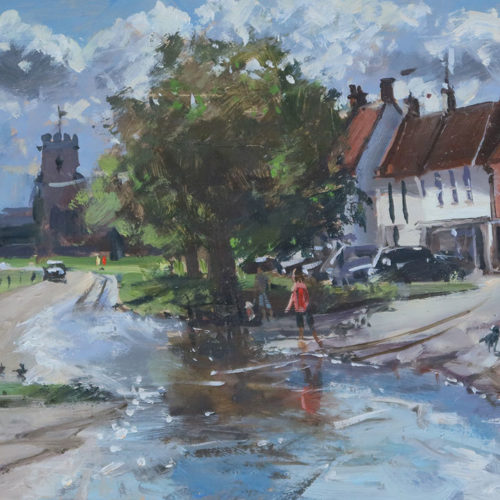 'The Green in flood, Burnham Market', 8x16in, oil on board, painted in 2021.