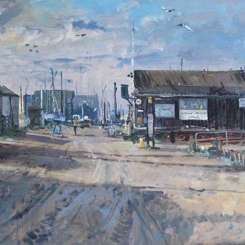 'The Harbour Masters Office', 12x16in, oil on board, painted in 2021.