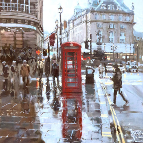 The-Telephone-box-on-Coventry-St Painting by British Artist Nick Grove